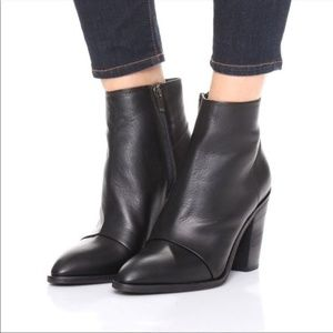 Vince Ennis Black Leather Ankle High Heel Bootie 9